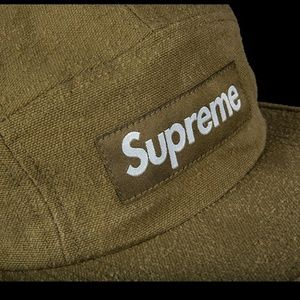 Supreme FW18 olive canvas 5 panel hat